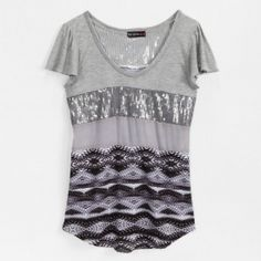 Not sure which pattern to go with?  Try this mixed media top! #shopko