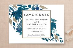 """Watercolor Delight"" - Floral & Botanical Save The Date Cards in Aqua by Petra Kern."