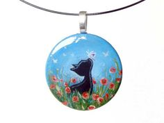 Black Cat Necklace Pendant Poppy Flowers Butterfly by rainbowofcrazy