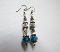 Silver London Blue Faceted Swarovsky Crystal dangle earrings by GypsyDreamerCafe, $10.50
