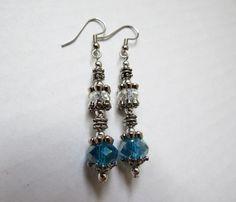 Silver London Blue Faceted Swarovsky Crystal dangle earrings by GypsyDreamerCafe, $10.50