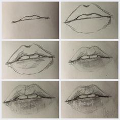 lips, drawing, and art image Art Drawings Sketches Simple, Pencil Art Drawings, Realistic Drawings, Drawing Techniques, Drawing Tips, Painting & Drawing, Mouth Drawing, Nose Drawing, Anime Sketch