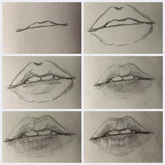 lips, drawing, and art image Pencil Art Drawings, Art Drawings Sketches, Realistic Drawings, Easy Drawings, Drawings Of People Easy, Drawing Techniques, Drawing Tips, Mouth Drawing, Sketch Mouth