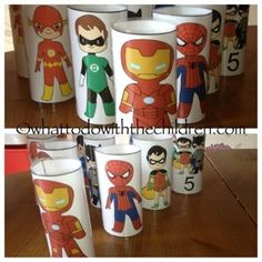 printable to make superhero toilet paper tubes. use for bowling, target practice, or puppets