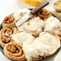 Simple banana bread cinnamon rolls made in 1 bowl with 9 ingredients. Delicious, sweet, tender and entirely vegan.