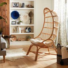 Natural Rattan Fallon Cocoon Chair with Cushion / Tigi room Furniture Styles, Home Furniture, Hanging Furniture, Rattan Furniture, Pod Chair, Eames Chairs, Rattan Chairs, Dining Chairs, Ikea Chairs