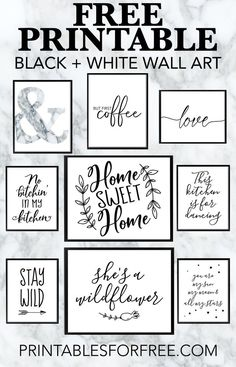 super Free Printable Black and White Wall Art – Laden Sie Ihre eigene Wandkunst herunter und drucken Sie sie aus Arte de pared en blanco y negro imprimible súper gratis: descargue su propio arte de pared e imprímalo Images Murales, White Bedroom Decor, Bedroom Black, Wall Art For Bedroom, Diy Bedroom, Trendy Bedroom, Black And White Wall Art, Black White, Black Art