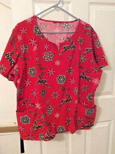 c5440cfda8f Scrubs Top Red White Black Gold Happy Holidays Reindeer Snowflakes Christmas  #unbranded #ScrubTop,