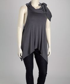 Take a look at this Charcoal Cowl Neck Handkerchief Tunic - Plus by Poliana Plus on #zulily today!