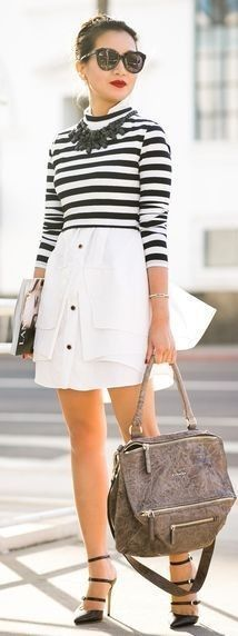 #spring #street #style #stripe #outfitideas |Striped Top + White Skirt |Wendy's Lookbook                                                                             Source