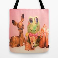 frog and friends Tote Bag by Vintage  Cuteness - $22.00#vintage deer #fawn #frog #kitsch #childrens #kawaii #pink #tote #bag #fashion