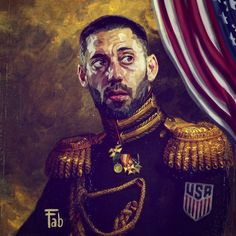 pupazzaro painted the coolest portrait of Clint Dempsey that you'll ever see: Clint Dempsey, Copa America Centenario, Seattle Sounders, Celebrity Portraits, Canvas Prints, Art Prints, Mona Lisa, Vibrant Colors, Cool Stuff