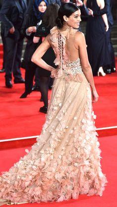 The back of Stephanie Sigman's peach Marchesa dress