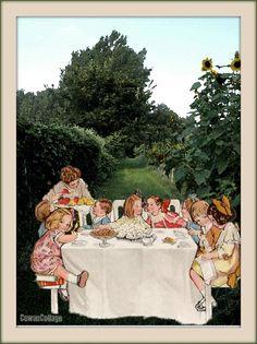 Remembering Summer birthdays. Collage by Liza Cowan. Photo of Intervale Farm, Burlington Vermont, Liza Cowan. Illustration Rose O'Neill for Jell-o.