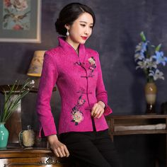 8673c702a Fabulous Embroidery Frog Button Chinese Tang Jacket - Pink - Chinese Jackets  & Coats - Women