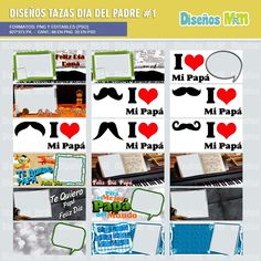 Dia de Papa - Plantillas y Diseños Para Estampar Mug Tazas Comics, Happy, Stampin Up, Stencils, Money, Cartoons, Comic, Comics And Cartoons, Comic Books