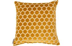 Mustard cushion, honeycomb pattern, honeycomb pattern cushion Zuiver Monty Honeycomb Cushion: Liven up your sofa with this honeycomb patterned cushion in mustard yellow soft velvet Mustard Cushions, Mustard Bedding, Mustard Living Rooms, Color Bordo, Honeycomb Pattern, Barbie Dream House, Bee Theme, Velvet Cushions, Bees Knees