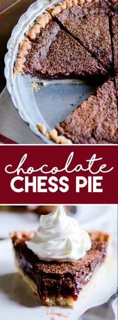 This Chocolate Chess Pie recipe is gooey and rich and so delicious. Perfect simple pie to bake for entertaining. Köstliche Desserts, Delicious Desserts, Dessert Recipes, Plated Desserts, Cheesecakes, Chocolate Pies, Chocolate Pie Recipes, Easy Chocolate Chess Pie Recipe, Thanksgiving Chocolate Desserts