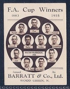 issued by sweets cigarettes maker, Barratt & Co, in London, 1935, one of a series, 1 per pack of candy ciggies. each celebrating F.A. Cup winning teams, here Bolton Wanderers from 1926. Very rare cards, each worth from £50 upwards today. www.rarecards.co.uk