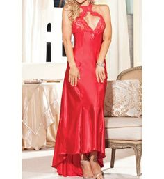 Size 6 First Night Satin Gown Red or Purple. Starting at $15 on Tophatter.com! http://tophatter.com/auctions/42269-beyond-intimates-accessories-by-l-r