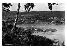 Oppland fylke Lillehammer utsikt mot Vingnes og Mjøsa 1952 Foto Mesna