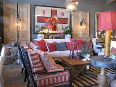 red white and blue bohemian living room