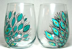 Painted Stemless Wine Glasses Peacock Feathers by PrettyMyDrink, $55.00