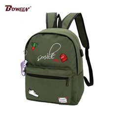 e476d45743 Usb Canvas women backpack schoolbag Zipper Black printing girls school bags  for teenage female back pack Teens bookbag 2018