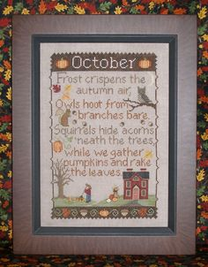 OCTOBER SAMPLER; Pattern for Counted Cross Stitch; Instant PDF Download; Autumn, Pumpkins, Owls by WaxingMoonDesigns on Etsy