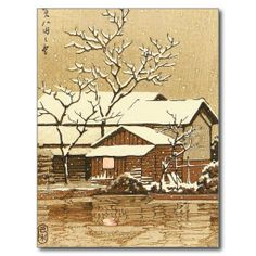 SOLD! - Kaga in Snow oriental japanese winter scenery Post Card