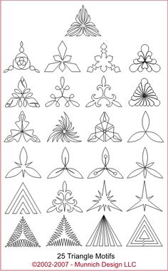 Munnich Design - Quilt Recipes: Digital Quilting Pattern - Browse All Patterns--for triangles Patchwork Quilting, Quilting Stitch Patterns, Hand Quilting Designs, Machine Quilting Patterns, Quilting Stencils, Quilting Templates, Quilt Stitching, Longarm Quilting, Free Motion Quilting