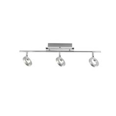 3 Light IP44 Rated Bathroom Spot Fitting Searchlight 7443CC Ceiling With Multi Angle Lights Finished In Chrome And Satin Silver
