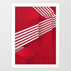 Optical illusion_red Art Print by Glova Yevgeniya  - $15.60
