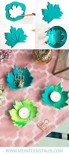 DIY: Autumnal leaf tealight holder from FIMO Creative DIY -. DIY: Autumnal leaf tealight holder made of FIMO Creative DIY idea to make yourself: Simply m Kids Crafts, Clay Crafts, Diy And Crafts, Summer Crafts, Decor Crafts, Diy Y Manualidades, Cute Polymer Clay, Fall Diy, Tea Light Holder
