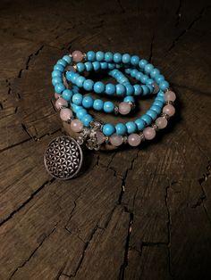 108 Mala Beads | Pink Rose Quartz & Turquoise Howlite Mala | Flower of Life Sacred Geometry Charm | Meditation Prayer Beads Yoga Mayan Rose by MayanRoseShop on Etsy