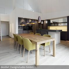 Destilat created this interior design concept for a penthouse in Linz Bachlberg. An open, spacious living room-kitchen-dining area with up to meters high sloping ceilings and an open gallery wer Spacious Living Room, Living Room Kitchen, Living Spaces, Kitchen Dining, Contemporary Interior Design, Interior Design Tips, Design Studio, House Design, Set Design