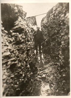 WW1, 1916. French soldier in a trench, Western Front.