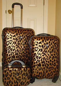 Leopard print luggage!!!!