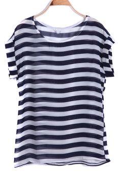 ++ Navy Short Sleeve Striped Chiffon T-Shirt