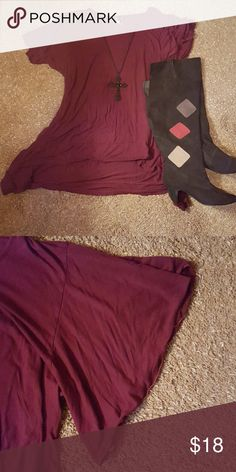 """PRICE DROP!! Tunic Dress Short, lettuce edged sleeves, hi-lo tunic dress. Laying flat: bust 25"""", length 27"""" in front, 33"""" in back. Gorgeous, rich maroon/burgundy color. Great with leggings and boots. Boots pictured also for sale in my closet. Lotus Traders Tops Tunics"""