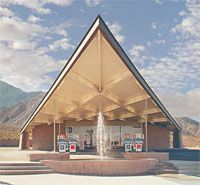 Palm Springs Midcentury Modern Tramway Gas Station, this space-age style and breathtaking mid-century modern icon of Palm Springs architecture, is now the home of the Palm Springs Visitors Center.
