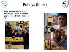 Pulleys (Knex) Build a pulley system to get Mr Grinling's lunch across the gap between 2 tables (teams of 5)