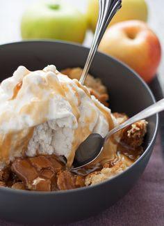 Apple Cake Sundae - hot apple cake fresh out of the oven, vanilla ice cream and caramel! My new favorite fall dessert!   honeyandbirch.com #sponsored