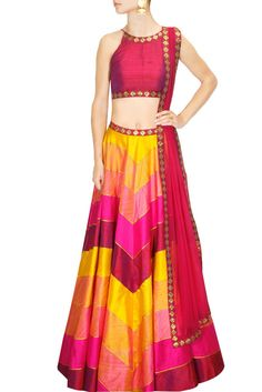 This lehenga choli components a yellow, hot pink and maroon crude silk lehenga with crisscross print and gota lines all over and sequins weaved waistband. It has an underlayer of can-can. It is matche Choli Designs, Lehenga Designs, Blouse Designs, Dress Designs, Indian Attire, Indian Wear, Indian Dresses, Indian Outfits, Indian Clothes