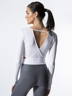 ∞ Aura Crop Long Sleeve by ALO YOGA in White