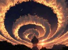 This is real Some other Counry with a Spiral Smoke Cloud Nice Photo
