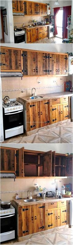 Not only can the TV launch be decorated with the wall art for the TV stand, but the kitchen can also be adorned using the reclaimed wooden pallets if the person considers creating the kitchen cabinets which makes the area look impressive.