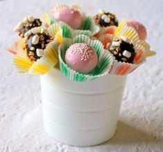 Cake balls in cupcake liners.