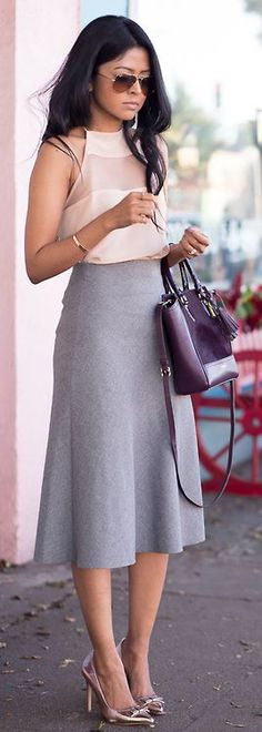 Latest fashion trends: Street style | Blush cami and grey skirt