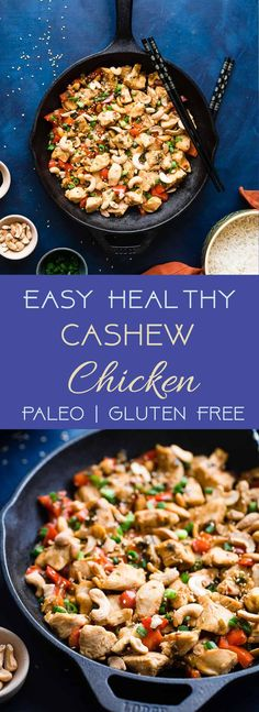 Easy Paleo Cashew Chicken Stir Fry - A healthy, gluten, grain and dairy free weeknight meal that the whole family will love! Ready in 20 minutes and WAY better than takeout!   #Foodfaithfitness   #Paleo #Glutenfree #Healthy #StirFry #Dairyfree